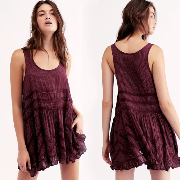 Free People Dresses & Skirts - Free People Voile & Lace Trapeze Slip - Blackberry